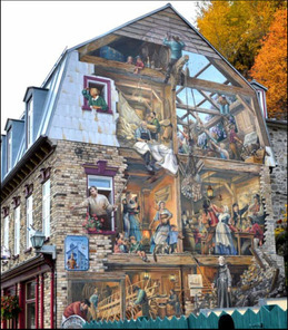 Mural painting on building in Quebec City, Canada