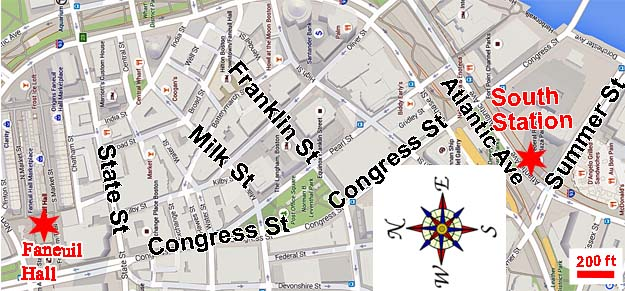 Map - walking route from South Station to Faneuil Hall in Boston, MASS