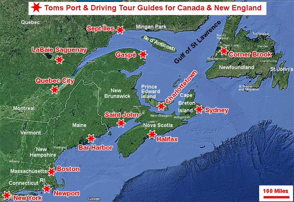 Map- Toms Cruise Port Guides for Canada & New England