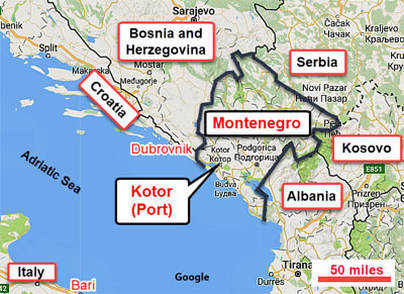 Toms port guides mediterranean save money on cruise port shore map showing montenegro location near croatia gumiabroncs Choice Image