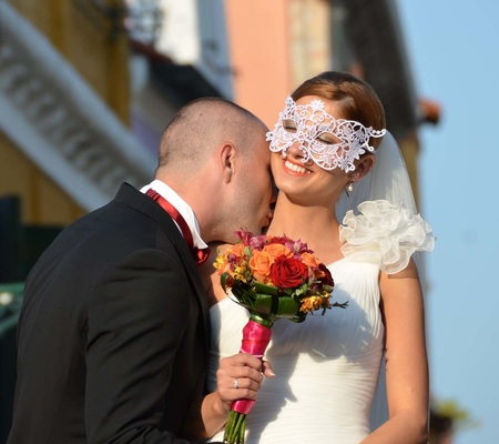 Romance - Bride and Groom at Venice wedding